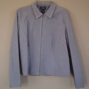 Baby Blue Spring Jacket Genuine Suede Leather XL